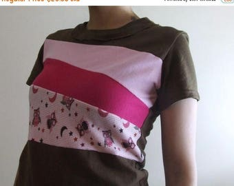 20% SALE Color Block T-shirt - Handmade Ladies Size SMALL Owls Pink Recycled Upcycled