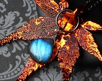"""Labradorite Necklace, Real Leaf, Copper, Oxidized Sterling Silver - """"Autumn Fire"""" by CircesHouse"""