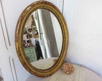 Large Antique Oval Water Gilded Wooden Mirror, French Vintage Wall Mirror, Paris Apartment Chic, Warm Gold Gilding, 1880s Chateau Decor