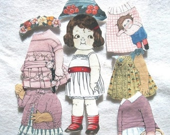 Summer Sale Child's Travel Toy  Fabric Paper Doll   Church toy  Emily