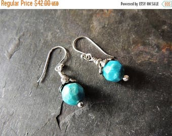 30% OFF CIJ Turquoise Drop Earrings, Artisan Silver Bead Caps, Handmade Silver, Rustic Handcrafted, Bisbee Turquoise, Casual Jewelry, Statem