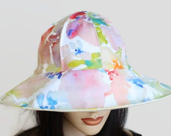 Reversible Cottage Hat wide brim sun hat in colour floral watercolour plus adjustable fit or chinstrap great for boating