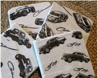 SALE Car Lover Coasters - Absorbent Tile Drink Holders - Black and White Vintage Car design - Man Cave Decor - Father's Day Gift - Set of 4