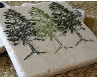 XMASINJULYSale Handmade Pine Tree Drink Coasters - Northwoods Cabin Decor - Absorbent Tile Coasters - Rustic Housewarming Gift
