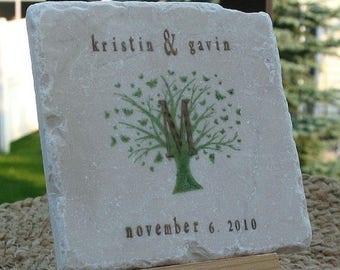XMASINJULYSale Monogram Tile Coasters - Butterfly Tree Design - Personalized Wedding Gift - Set of 4