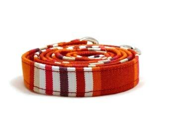 "Orange striped dog leash - Hammock pet lead - Orange beige striped dog lead - 3/4"" wide x 3.8 foot long - UV resistant fabric"