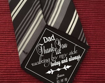 Father of the Bride Iron On Tie Patch, thank you for walking by my side men's tie patch, wedding gift, from Bride to Dad, men's tie memento