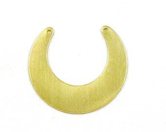 6 crescent geometric jewelry pendant brass. 32mm x 28mm (T34)