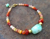 SALE Gemstone Bracelet - Chrysoprase Carnelian Fire Opal Prehnite - Handmade Jewelry