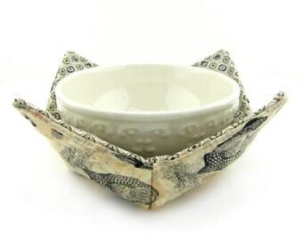 Microwave Safe Bowl Cozy, Bowl Cozies, Soup Bowl Holder, Cold, Reversible, Chicken, Hen, Rooster, Farm, Beige, Bowl Warmer, Hot Bowl Holder