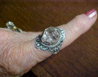 Handcrafted herkimer Diamond ring in fancy mount marked 925-tested size 8