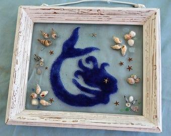 Mermaid window art. Mermaid tears, sea shells, mosaic framed art.