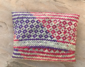 The Vintage Pink and Purple Straw Oaxacan Clutch or Coin Purse Pouch
