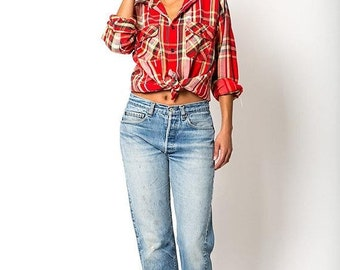 40% OFF The Vintage Five Brother Knit Flannel Button Up Top Blouse