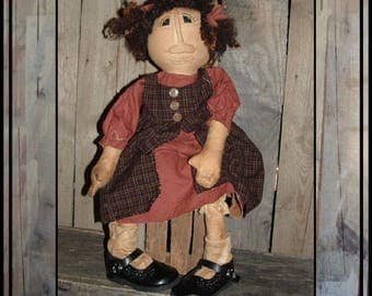 SALE mailed paper pattern Primitive folk art soft sculpted folk art rag Doll HAFAIR OFG faap cloth doll childrens shoes 270