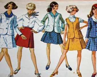 """Vintage 1970s Sewing Pattern, Simplicity 8041, Misses' Jacket, Sleeveless Jacket, Skirt and Blouse, Misses' Size 12, Bust 34"""""""