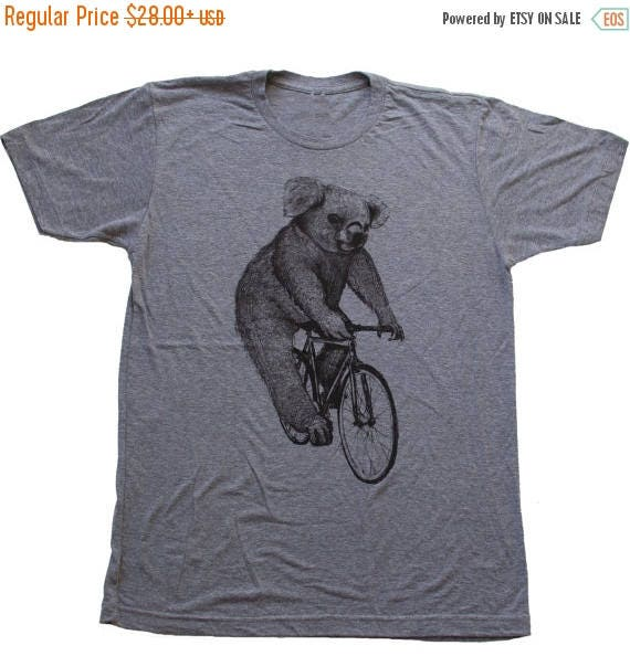 SUMMER SALE Koala on a Bicycle - Mens T Shirt, Unisex Tee, Tri Blend Tee, Handmade graphic tee, sizes xs-xxl