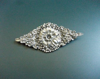 Vintage Elias Fine Pewter & Sterling Silver 925 High Relief Flower Cluster Brooch Pin Signed And Numbered