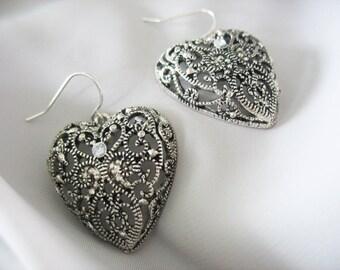 Filigree Heart Earrings, Dangle, Center Rhinestone, Silvertone, Large Hearts, Pierced 1980s