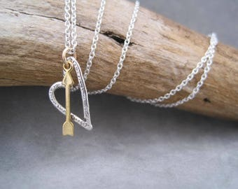 Shot Through the Heart - Mixed Metal Heart Necklace - Filagree Heart - Heart and Arrow - Romance - Free Floating Heart