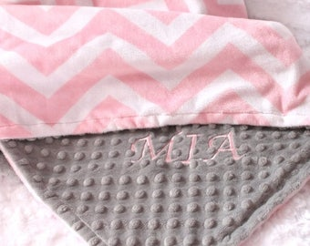 SALE Personalized Baby Blanket For Girl / Minky Baby Blanket Girl, Gray Pink Chevron Blanket For Baby // Name Baby Blanket // Custom Blanket