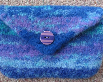 Coin Purse Blue and Purple Wool Hand Knitted Felted
