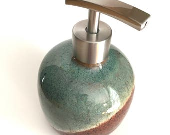 Ceramic Soap Dispenser Lotion Dispenser-  Green and Honey Brown Overlap IN Stock - Ready to Ship