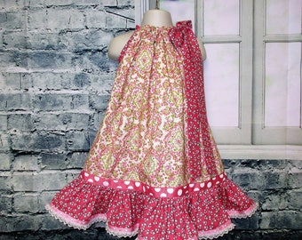 SALE Free Ship! Girls Dress 3T/4T Rose Flowers, Pillowcase Dress, Pillow Case Dress, Sundress, Boutique Dress