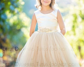 READY to SHIP - 5T - The Juliet Dress in Ivory and Champagne with Rhinestone Sash - Flower Girl Tutu Dress