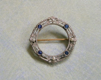 14K Gold Sapphire and Pearl Brooch Pin, Antique Gold Pin, Pearl and Sapphire Gold Pin, Conversion Piece (#3243)