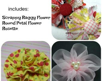 Mixed Fabric Flowers Tutorial 6 ... includes 3 fabric flowers