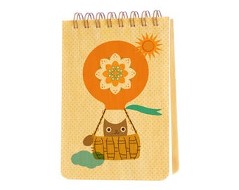 hot air owl mini notepad with real birch wood covers - jotter - small notebook - j1938