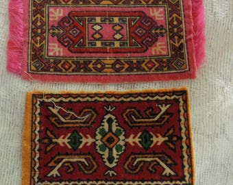 Two Oriental Rug Cigar Felts-Collectable Cigar Felts-Cigar Givaways-Tobacciana Cigar Felts-Silk Cigar Felts