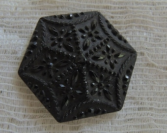 Vintage Victorian Black Glass Button - Rare Faux Fabric Antique Buttons - Looks Like Satin And Jet