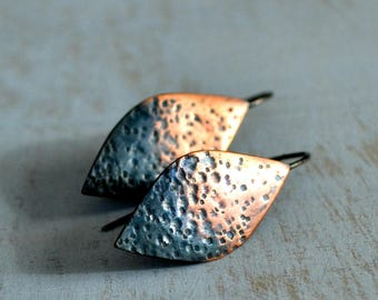 Rustic copper earrings ombre oxidized sterling silver small leaf shaped hammered modern  - Small Ombre Leaf
