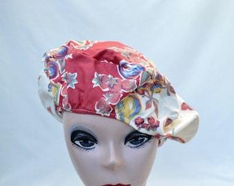 Vintage Print Fabric Beret / 1960's Fabric Beret / Vintage Womens Hat / Vintage Womens 1960's Fruit Print Cotton Beret