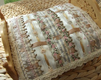 Dolls House 1:12 Victorian Crazy Ribbon Quilted and Hand Embroidered Double Bed Cover