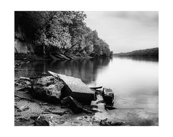 River View, Stanford St. - Mississippi River Photography. Granite shore. Tree-lined River view. Midwest. Saint Paul, MN. Black and white.