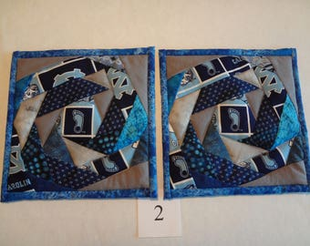 North Carolina Tar Heels potholders-quilted pair#2