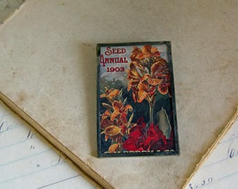 Flower Seed Catalog 1903 Pin Glitter Glass Jewelry