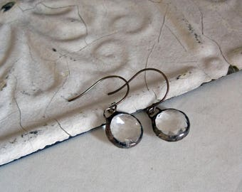 Faceted Glass Earrings Clear Stained Glass Jewelry