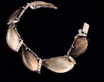 Vintage FLORENZA Frosted Glass Leaf Bracelet