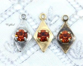 Earring Dangles 7x14mm Swarovski Rhinestone Charms Petite Diamond Shape Drops Crystal Jewelry Findings Maderia Topaz - 6