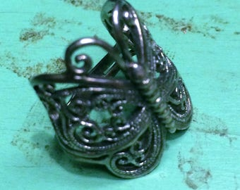 Vintage Large Sterling Silver Filigree Butterfly Ring