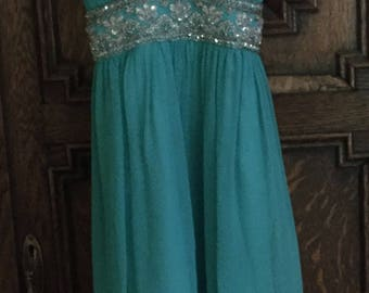 Beautiful Scala formal turquoise Blue Short Chiffon Halter with Crystal Accents Size 4
