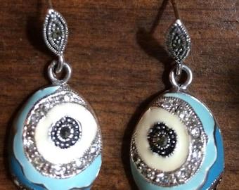 Sterling Silver Enamel Marcasites Egg Shaoe Drop Dangle Earrings