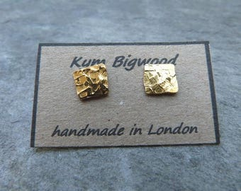 Gold squares ~ textured brass and sterling silver studs - 8mm squares -mixed metal studs - hammered raw brass -gold ear studs -uk