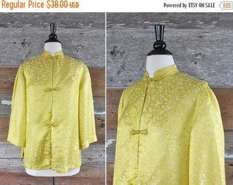 SALE 1960s Chinese yellow silk blouse   size l - xl