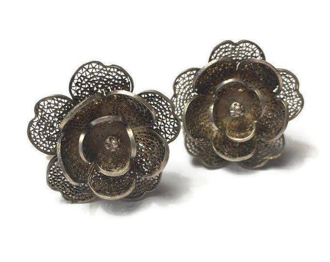 Silver Filigree Flower Design Earrings Dimensional Screw Back Vintage