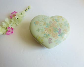 Vintage Heart Shaped Jewelry Box - Floral Porcelain Trinket Keepsake Jewelry Box -  Ring Holder Box - Made by Takahashi Japan Sachet Pattern